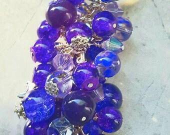 Purse charm, charm, Purple, zipper charm,