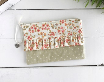 Ruffle zipper pouch, Floral pencil case, Cute makeup bag, Cosmetic pouch, Back to school, Project bag, Gift for her, Polka dots, Heart charm