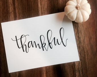 Hand Lettered Print- Thankful