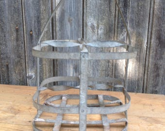 Bottle Carrier for 4 Bottles, Metal Galvanized, Wooden handle, French Vintage, Good State