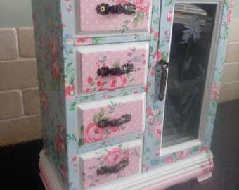 Handcrafted Upcycled Armoire Jewellery Wardrobe - decorated with Cath Kidston papers.
