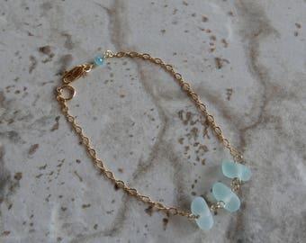 Aqua Beach Glass Bracelet