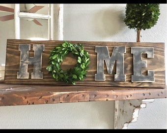 Home Sign with preserved boxwood Wreath