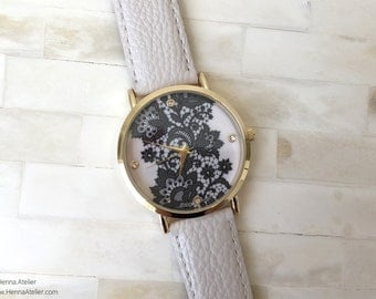 Henna Patterned Watch White/Black Womens Mehndi Design Lace Leather bracelet wrist
