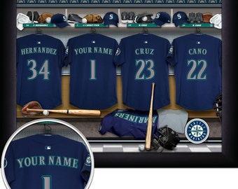 """Seattle Mariners MLB Framed Personalized Locker Room Baseball Sports  Home  Decor 13""""x16"""" Inches Free Shipping"""