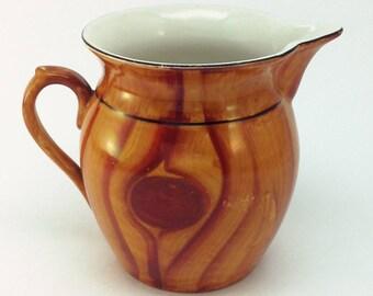 Vintage Ceramic Czech Faux Wood Painted Pitcher