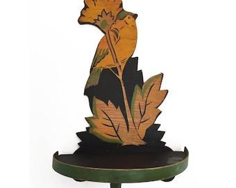 Vintage Handmade Wooden Bird Shelf