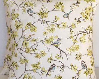 2 x Clarke & Clarke birdies in citrus cushion covers
