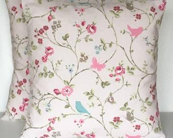 "2 x 16"" (40cm x 40cm) Handmade Clarke & Clarke bird trail rose pink cushion covers"