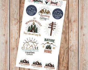 Vintage Wanderlust Labels & Words planner stickers