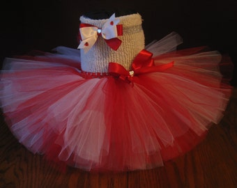 Baby~ Toddler~ Red and White Tutu and Hair Clip/Headband~Size: 12-24 months~ Ready To Ship!
