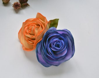 Purple and yellow Foam roses Hair clip Tribal ATS accessories Tribal fusion hair jewellery Tribal costume Boho chic Realistic Foam Flower