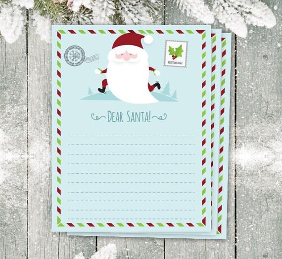 Dear Santa Letter, Christmas List, Christmas Paper, Christmas Wish List,  Christmas Printable, Cute Santa Letter, Holiday Organize, List  Christmas Wish List Paper