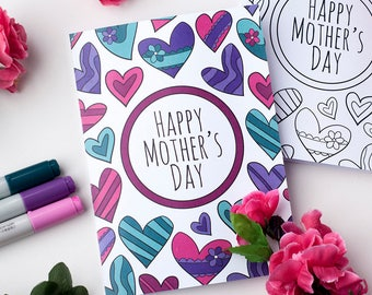 Mother's Day Printable Coloring Card – A Printable Greeting Card to color for Mother's Day | Printable PDF Mother's Day Card Template