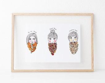 Bearded Women (Watercolor Artwork - Printed Illustration - Illustration Print - Wall decor - Wall Art)
