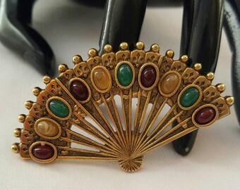 1928 Faux Gem Fan Pin (reserved)