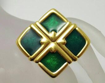 Green Enamel MONET Pin