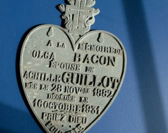 Antique French galvanized zinc memorial plaque Cemetery Graveyard Catholic Flaming heart Funeral