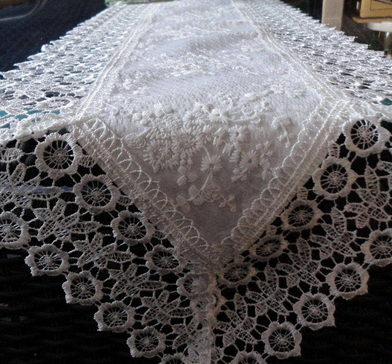 65 x 11 ivory lace dresser scarf mantel shelf