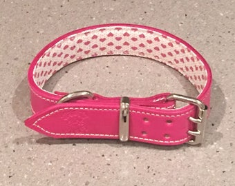 Pink Leather Dog Collar with White & Pink Hearts Padded Inner Lining