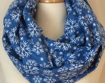 Snowflake Infinity Scarf Blue Christmas Gift for Her Loop Scarves Scarfs Flannel