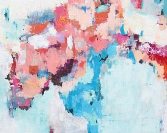 Modern Abstract Art Print Pink, blue