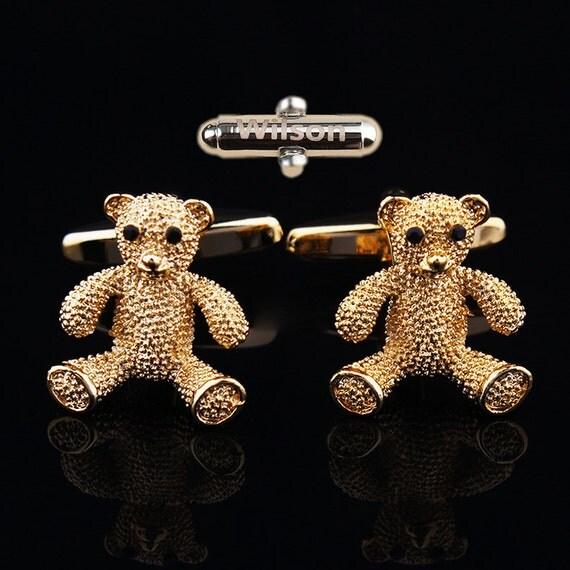 The lettering bear Cufflinks Cuff nails bear bear other Cufflinks personalized teddy bear Cufflinks nail Monogrammed gifts