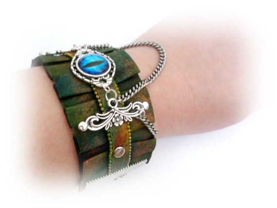 Steampunk Fasion Bracelet_Gift Ideas_STB5520889401_Dragon Eye Textile End Bracelet_Steampunk Jewelry by MultiStyle steampunk buy now online