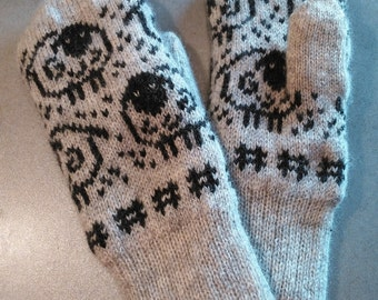 Cute sheep mittens, knitted wool mittens, double, warm mittens, excellent gift