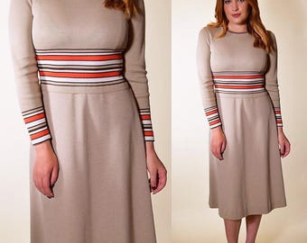 Authentic vintage 1960's long sleeve fit and flare Mad Men inspired orange and brown groovy preppy retro dress women's size small