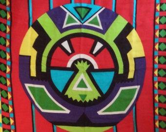 80s Oscar De la Renta scarf// Tribal boho Indian tee pee red turquoise neon square rayon// Vintage bohemian southwest table neck head wrap