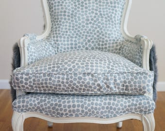 French Vintage Bergere Style Chair With Fur Back - SOLD
