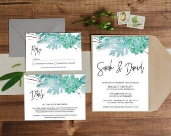 Wedding Invitation // Wedding Invite , Printable Invite, Digital Wedding Invite, Wedding Invitations,  Wedding Stationery, succulent Invite