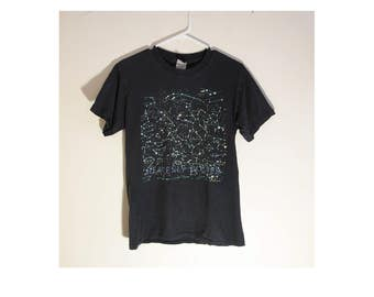 Heavenly Bodies / Thrashed / Trashed / 1990's 90's / Space T / Tee Shirt / Black / Goth / Constellation / Outer Space /Stoner /