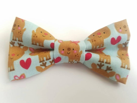 Reindeer Bow Tie for Cat or Small Dogs, Matching Velcro Collar, 100% Sales Goes to Feeding Feral Cats
