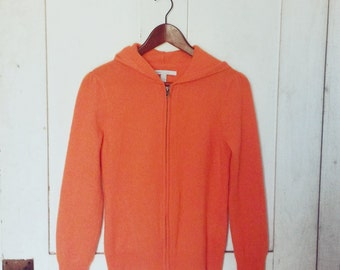 Orange Cashmere Zip Up/ Vintage Cashmere Orange Sweater/ Cashmere Sweater Hoodie