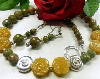 Unakite jewelry set with Aventurine florets