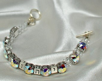 YHVH bracelet with Swaroski crystals