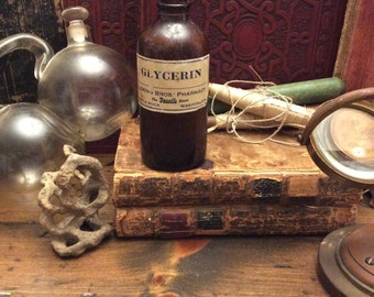 Poison Bottle, Glycerin, Brown Glass Medicine Bottle, Apothecary, Pharmacy (0051)