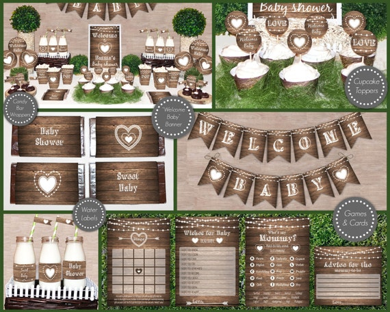 Nice Rustic Baby Shower Decorations Printable Package, Gender Neutral Baby Shower,  Country Decors, Garden Baby Shower
