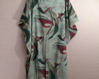 Upcycled 50's Curtain Dress Atomic Space Age Design