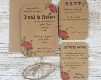 Rustic Themed Bundle Wedding Invitation sample