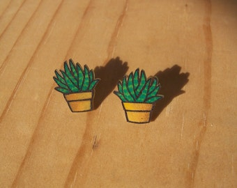 40% OFF! Aloe Vera Potted Plant Stud Earrings, Shrinky Dink