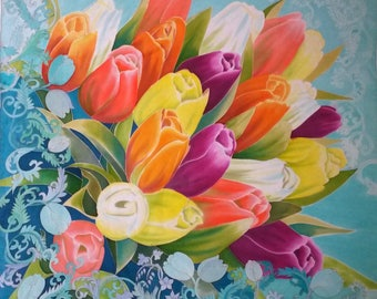 Silk Square scarf Hand painted scarf Tulips Blue scarf flowers Scarf shawl Bright accessories Floral  Silk painting  Gift for mom for her