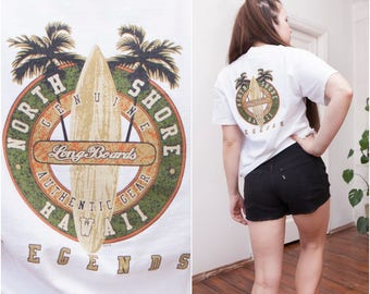 90s Graphic Tshirt White Surfer T-shirt Womens Medium T Shirt Mens Small Tee Khaki Longboard T Shirt Summer Beach Tee Logo Skater Tshirt S M