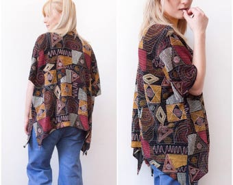 90s Embroidered Blazer Oversize Patchwork Cardigan Metallic Multi Pattern Open Front Top Short Sleeve Abstract Cardigan Womens L XL Blazer