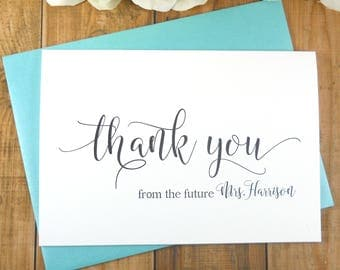PERSONALIZED Thank You from the FUTURE MRS Card, Bridal Shower Thank You Cards, Wedding Thank You Cards, Wedding Thank Yous