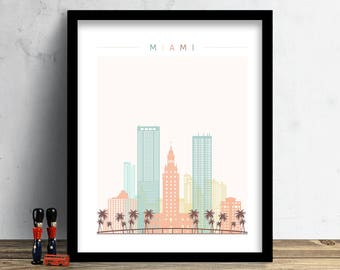 Miami Skyline, Print, Watercolor Print, Wall Art, Watercolor Art, City Poster, Cityscape, Home Decor, Christmas Gift PRINT