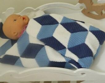 3D  Illusion Blanket, Handmade Baby Blanket , Crochet Blanket, 3D Baby Blanket, Crochet Baby Blanket, ND0054