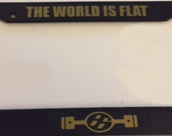 JDM The World is Flat - Pistons Boxster Engine   - Black with Gold Automotive License Plate Frame